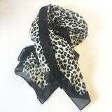 Black White Animal Print Wild Scarf Vintage Accessories made in Italy