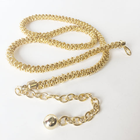 Golden Chain Metal Link Snake Belt Vintage Accessories