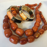 Amber Style Resin Beaded Necklace Contemporary Jewelry
