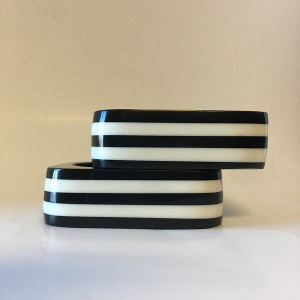 Black and White Striped Bangle Bracelet Contemporary Jewelry