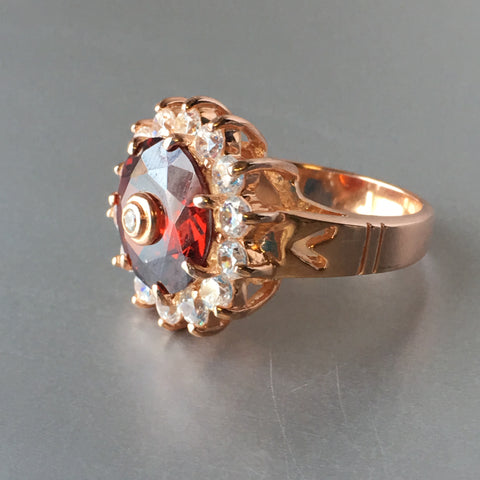 925 Iman Ruby Red Diamond Rose Gold Cocktail Ring Fine Designer Jewelry