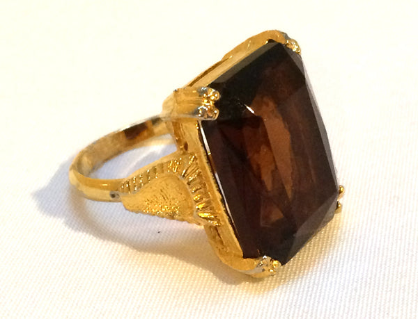 Faceted Topaz Cocktail Ring Adjustable Band True Vintage Jewelry Golden Brown 7