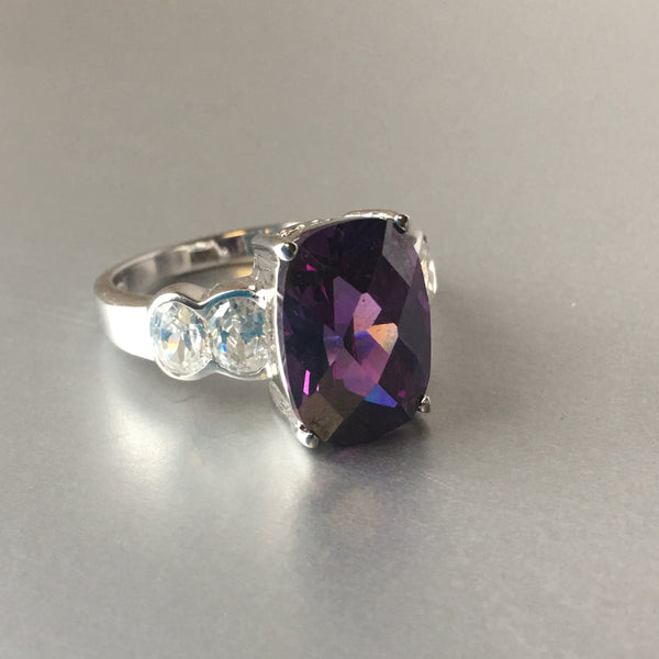 Sterling Silver Purple Amethyst Cocktail Ring Contemporary Jewelry