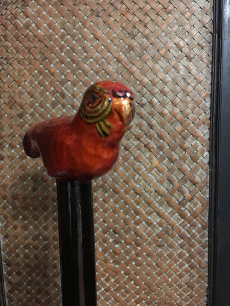 Wild Bird Carved Wood Walking Cane Stick Vintage Accessory