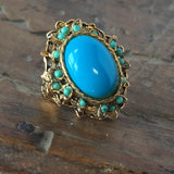 Intricate Victorian Style Blue Ring Vintage Costume Jewelry