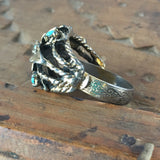 Turquoise Blue Rocks Floral Cocktail Ring Vintage Jewelry