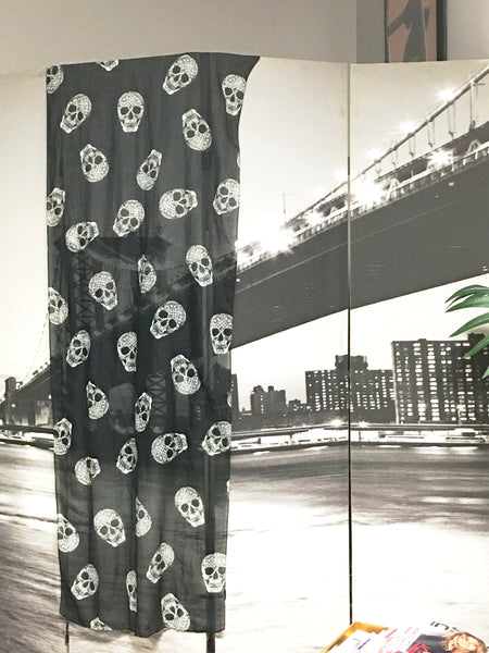 Skull Steampunk Black White Sheer Wrap Scarf Contemporary Accessory