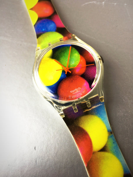 1997 Swiss Swatch Colorful Wrist Watch Vintage Accessory