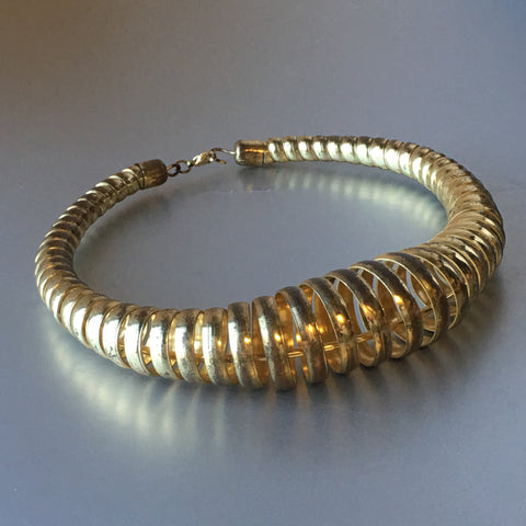 Golden Spirals Metallic Choker Necklace Vintage Jewelry