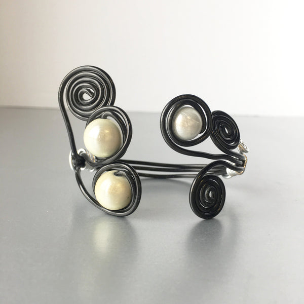 Black Silver Wired Cuff with Pearls Vintage Costume Jewelry