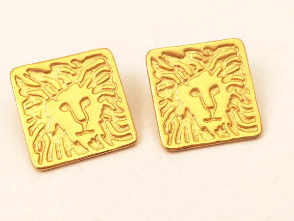 anne klein vintage jewelry lion face earrings gold