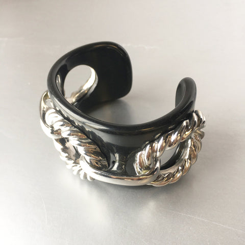 Black Resin Cuff Silver Rope Chain Bracelet Vintage Plastic Jewelry