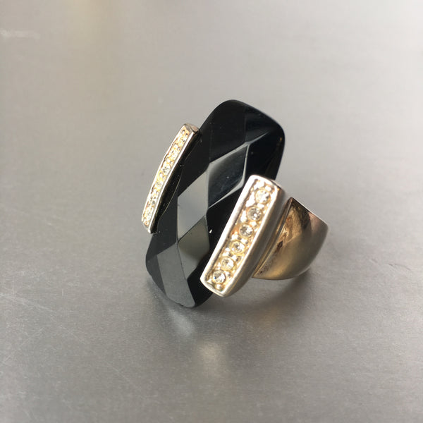 Art Deco Style Black Silver Cocktail Ring Vintage Jewelry