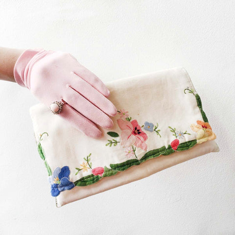 Victory White Floral Clutch Bag Vintage Accessories