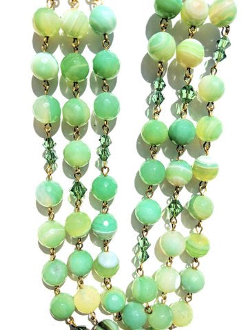 Sugar Gay Isber Swarovski Erinite Green Agate Necklace Contemporary Jewelry
