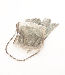 Mesh Metal Purse Antique Little Bag Blue Enamel Frame Chain mail Vintage Accessory