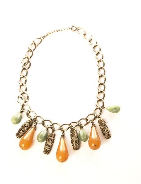Plastic Drops Golden Chain Link Necklace Vintage Jewelry Green Yellow Caramel Beads