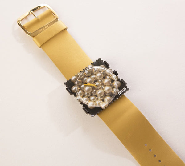 S.T.A.M.P.S. Dial Wristwatch Metallic Gold Genuine Leather Strap Pearls Face Design Square Case