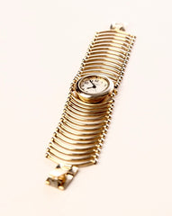 Varsales Wristwatch Golden Metal Links Strap Cuff Japan Movt Watch Vintage Accessory