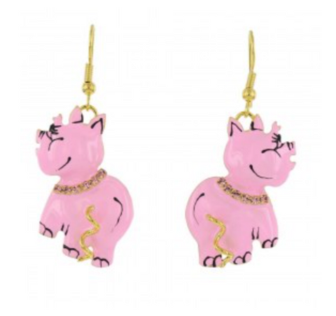 Lunch at the Ritz Pink Pig Figural Dangling Earrings Contemporary Jewelry