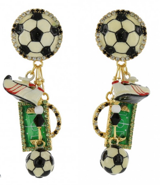 Lunch at the Ritz Soccer Dangling Earrings Contemporary Jewelry