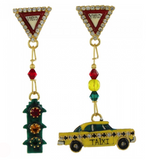 Lunch at the Ritz Taxi Car Dangling Earrings Contemporary Jewelry