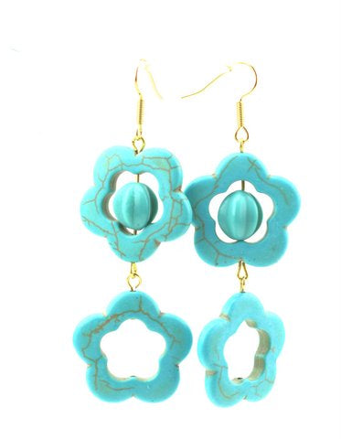 Sugar Gay Isber Howlite Floral Blue Earrings Contemporary Jewelry
