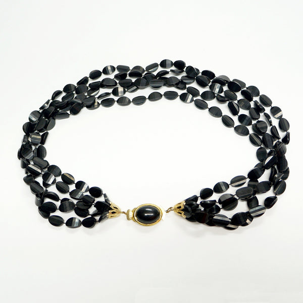 Black Torsade Necklace Vintage Plastic Jewelry