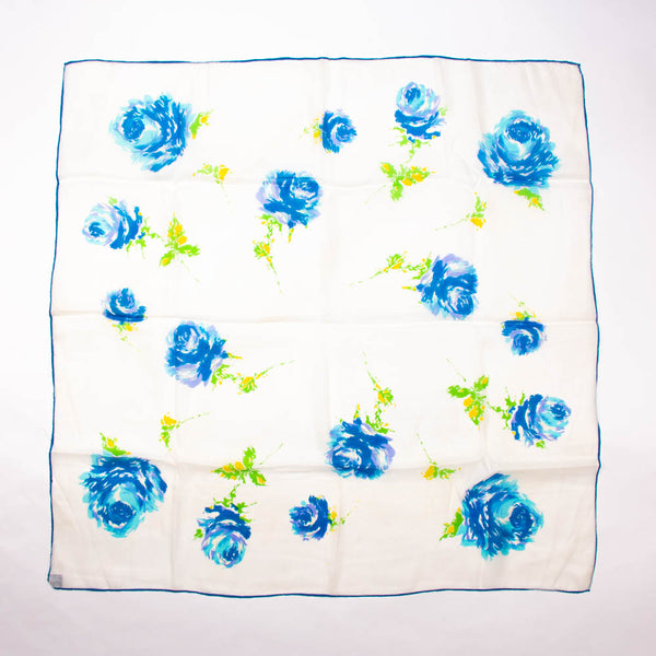 Blue Flowers Chief Value Silk Scarf Vintage Accessories Made in Japan