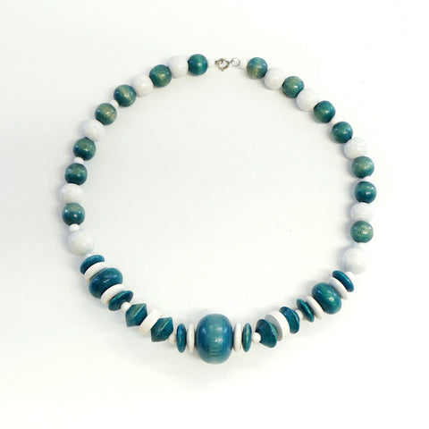 Wooden Blue Beaded Short Necklace Vintage Jewelry