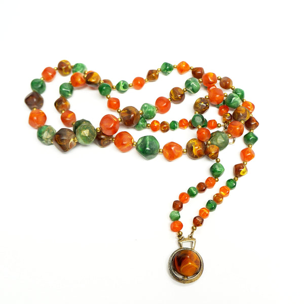 Marbled Beads Short Necklace Vintage Plastic Jewelry