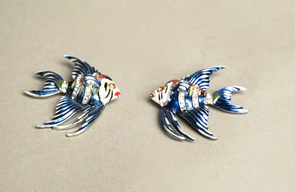 Whimsical Vintage Double Clips Fur Pin Set Fish Novelty Jewelry