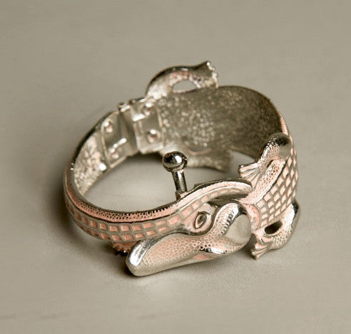Pink Alligator Bracelet Hinged Cuff Novelty Vintage Jewelry