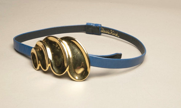 Alexis Kirk Belt Blue Leather Big Golden Buckle Vintage Accessories