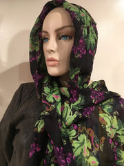 Vintage Scarf Large Headscarf Black Purple Green