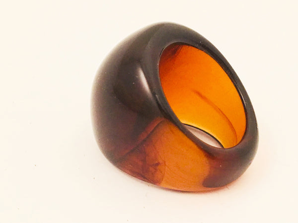 amber root beer plastic ring vintage jewelry