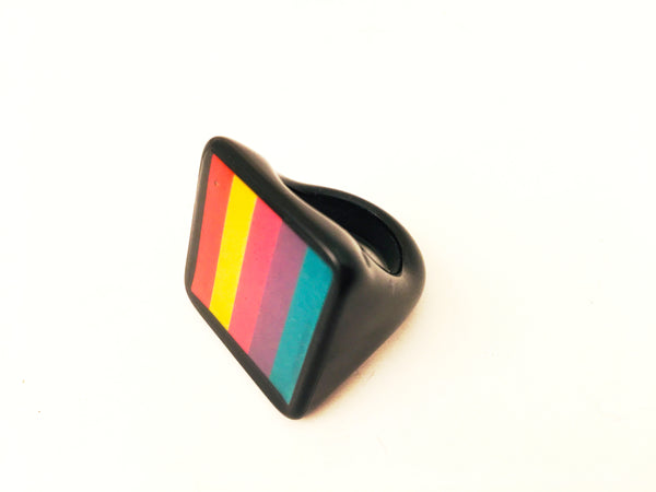 striped colorful resin ring vintage plastic jewelry