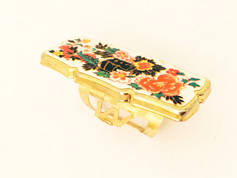 Lipstick Holder Floral Mirror Ring Vintage Jewelry and Accessories