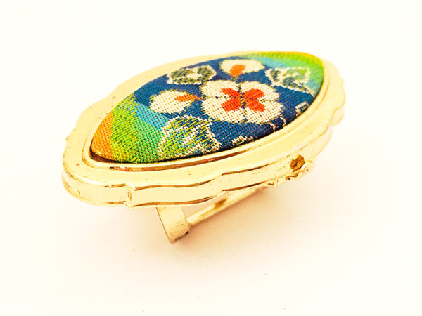 Floral Pointelle Lipstick Holder Mirror Ring Vintage Jewelry and Accessories