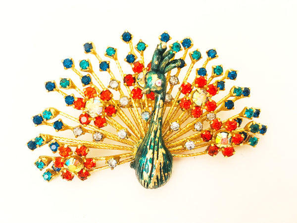 warner new york peacock pin vintage jewelry brooch