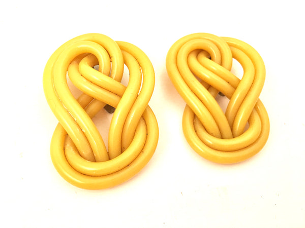 Art Deco Vintage Plastic Jewelry Set 2 Dress Clip Yellow Duette