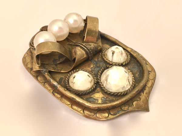 Art Deco Pearls Rhinestones Pin Brooch Vintage Jewelry