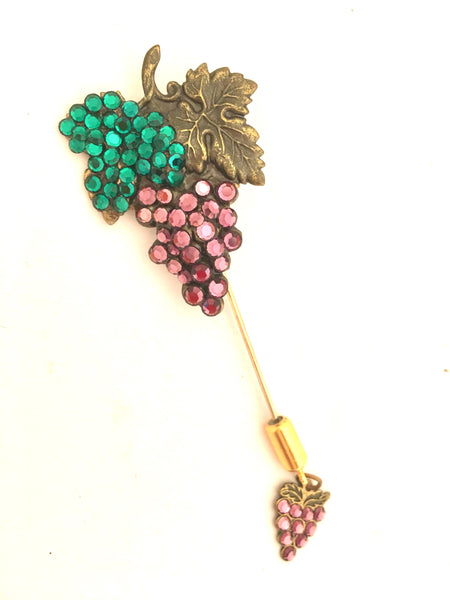 Grape Fruit Whimsical Lapel Hat Pin Vintage Jewelry