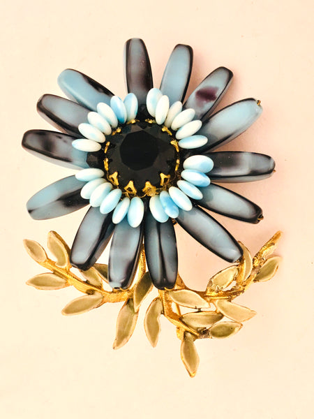 vintage floral pin blue brooch bride gift
