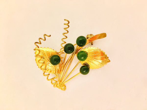 vintage floral pin brooch green gold 1950s jewelry