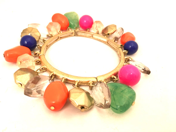 colorful beads cha cha charms bangle bracelet vintage jewelry