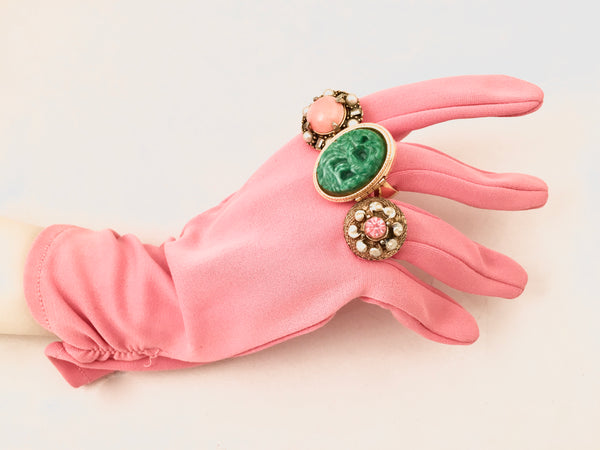 Short Pink Gloves Vintage Accessories Retro Prop