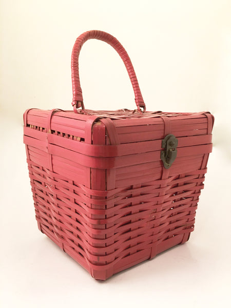 Red Basket Bag Vintage Handbag Vintage Accessories