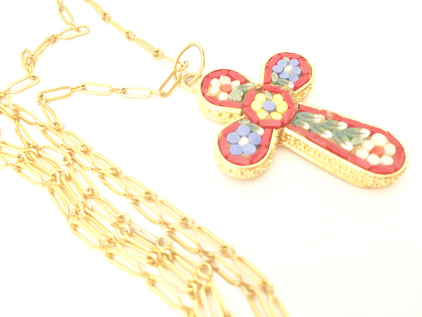 murano venetian glass floral cross pendant necklace vintage jewelry