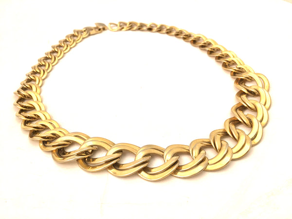 Golden Curb Chain Link Necklace Vintage Jewelry